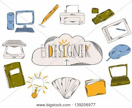 Colourful childrens illustration with a pencil. The collection of linear hand drawn icons. Icons tools designer developer. Vector illustration