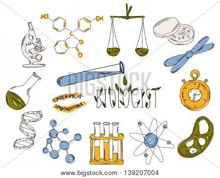 Colourful childrens illustration with a pencil. The collection of linear hand drawn icons. Icons tools of the biologist. Chemical laboratories are. Vector illustration