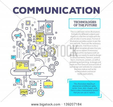 Vector creative concept illustration of interaction of laptop, clouds, megaphone, time, documents with header and text on white background. Communication technology composition template. Hand draw flat thin line art style design for social media and onlin