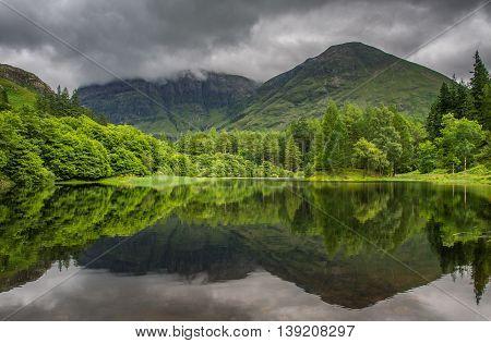 Reflections in Torren Lochan in Glencoe Scotland