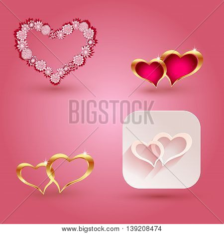 Hearts and icon elements for valentine s day or weddings. Vector illustration.