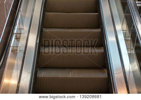 Metro Moving Escalator Metro Underground Subway No People