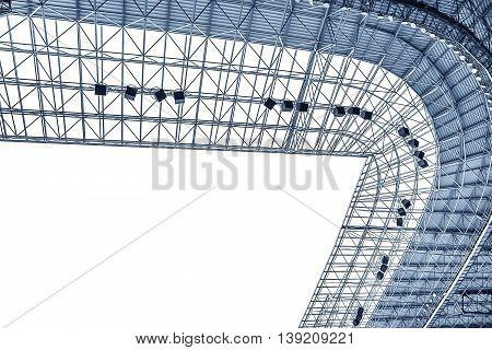 Elements of the stadium construction. Construction of the stadium roof. Toned photo.