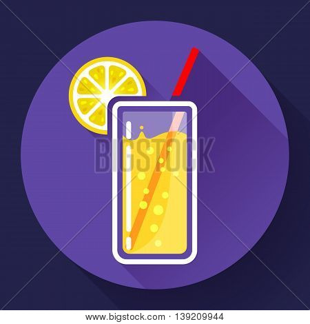 glass of juice with lemon icon flat 2.0 design style long shadow.
