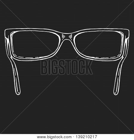 sunglasses vector. hand drawn doodle style icon. Doodle style sunglasses vector illustration. Glasses on blackboard. Blank eyeglasses vector template