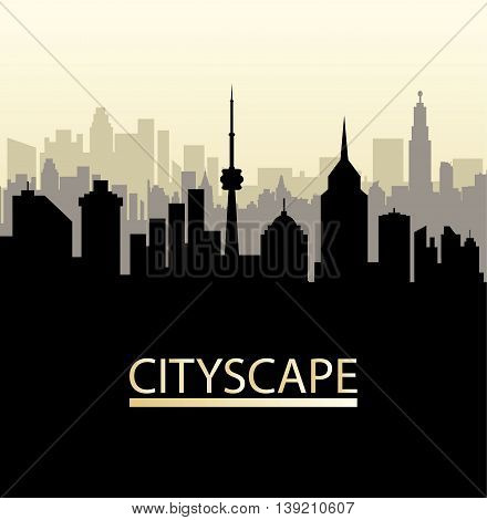 Modern City View. Cityscape with office and residental buildings, television tower, vector illustration in flat style