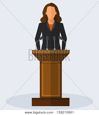 Politician woman standing behind rostrum and giving a speech. Vector flat style colorful illustration
