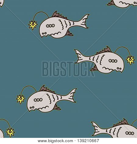 Cartoon angler fish seamless texture Mariana trench inhabitant