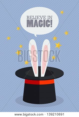 Bunny ears in magician hat. Vector Illustration