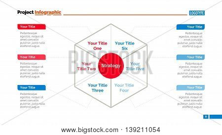 Process mind map slide template. Business data. Chart, graph, diagram. Concept for infographic, templates, presentation, marketing, report. Can be used for topics like banking, management, finance.