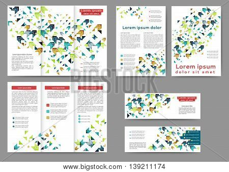 Set of color abstract brochure template with geometric elements for your business