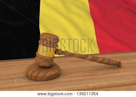 Belgian Law Concept - Flag Of Belgium Behind Judge's Gavel 3D Illustration