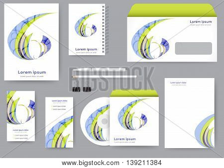 Abstract corporate identity template with abstract lines and waves