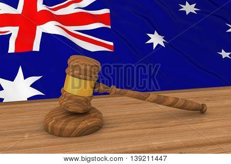 Australian Law Concept - Flag Of Australia Behind Judge's Gavel 3D Illustration