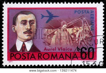 ZAGREB, CROATIA - JULY 19: a stamp printed in Romania shows Aurel Vlaicu (1882-1913) Romanian engineer, inventor, airplane constructor and early pilot, circa 1972, on July 19, 2012, Zagreb, Croatia