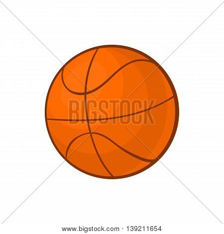 Basketball ball icon in cartoon style on a white background
