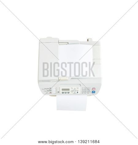 Closeup old white photocopier in the office with white paper office supplies concept isolated on white background in top view