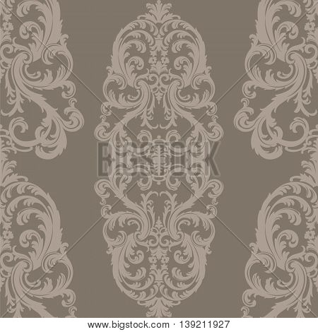 Vector Royal floral damask baroque ornament pattern element. Elegant luxury texture for textile fabrics or backgrounds. Beige and taupe color