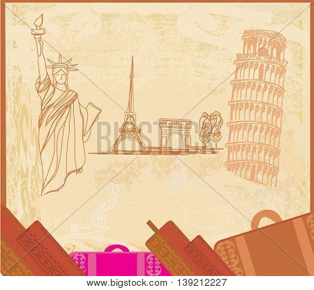 travel design element with different monuments , vector illustration