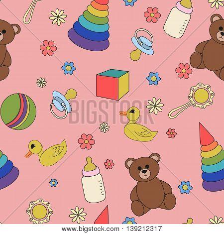 Cartoon illustration children seamless pattern on a pink background. Baby vector.