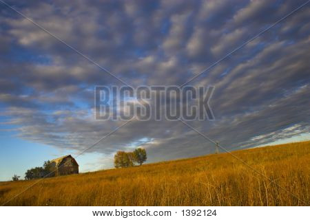 Farm Building With Spectacular Sky