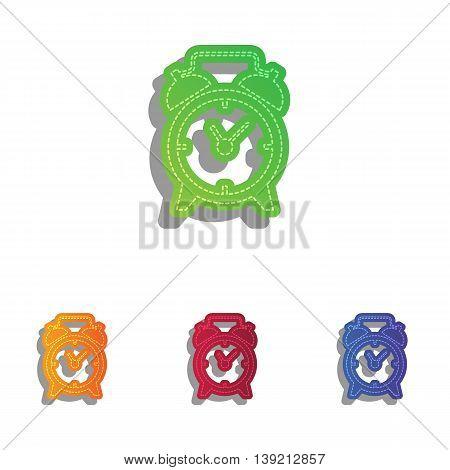 Alarm clock sign. Colorfull applique icons set.