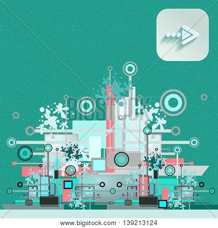 Hi-tech background with navigation icon. Vector illustration