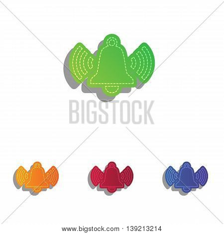 Ringing bell icon. Colorfull applique icons set.