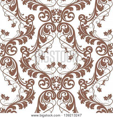 Vector Baroque pattern with Damask ornament. Vintage element Ornamental floral decor. Brown russet color ornament