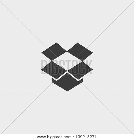 Open box icon in a flat design in black color. Vector illustration eps10