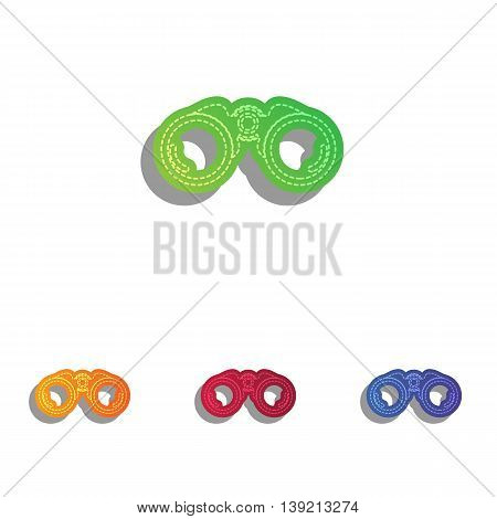 Binocular sign illustration. Colorfull applique icons set.