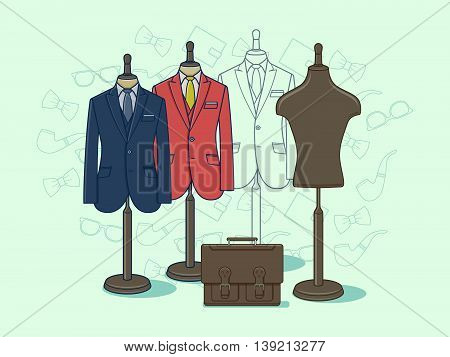 Mannequin for clothes. Fashion clothing on dummy for retail, vector illustration
