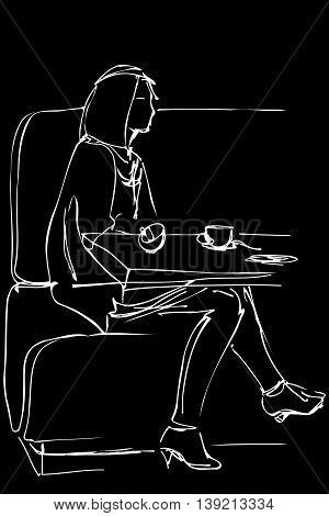 Girl In A Cafe Drinking Coffee On The Couch