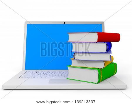 Stack Of Books And Laptop.