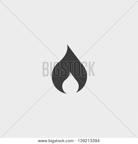 Fire icon in a flat design in black color. Vector illustration eps10
