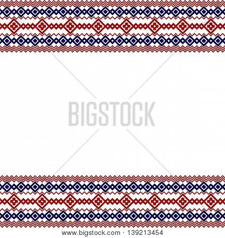 Russian, ukrainian and scandinavian national knit styled border, red and blue colors.