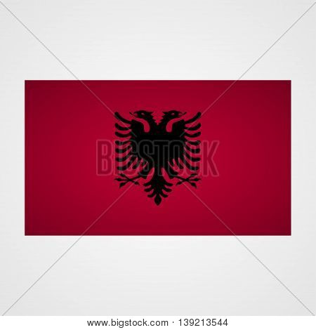 Albania flag on a gray background. Vector illustration
