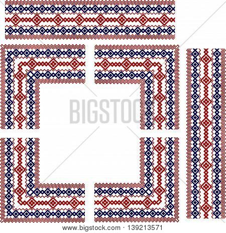 Set of frame elements for russian, ukrainian and scandinavian national knit styled border, red and blue colors,
