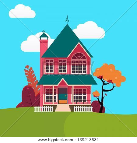 Family House Landscape with Trees. Vector illustration