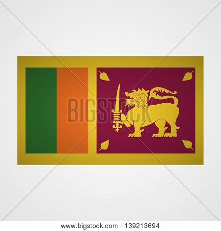 Sri Lanka flag on a gray background. Vector illustration