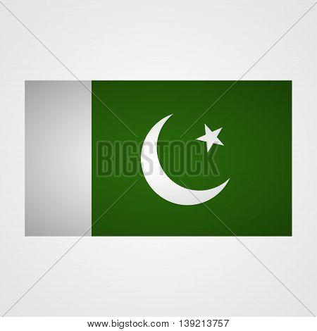 Pakistan flag on a gray background. Vector illustration