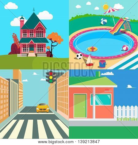 Landscapes Set Countryside Landscape. Outside Swimming Pool and Cityscape. Vector background