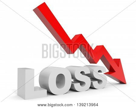 Graph down loss arrow on white background. 3D illustration.