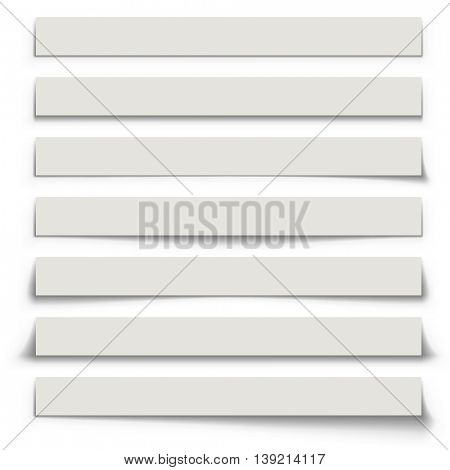 Horizontal banner shadows set vector template. Blank advertising banners with shadows isolated on white background.