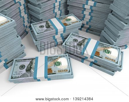 New One Hundred Dollar Banknotes Background.