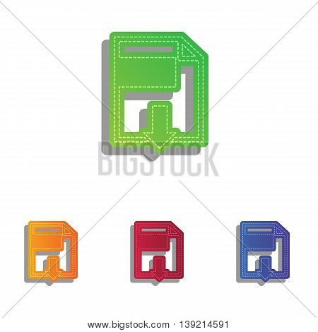 File download sign. Colorfull applique icons set.
