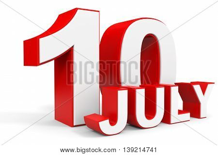 July 10. 3D Text On White Background.