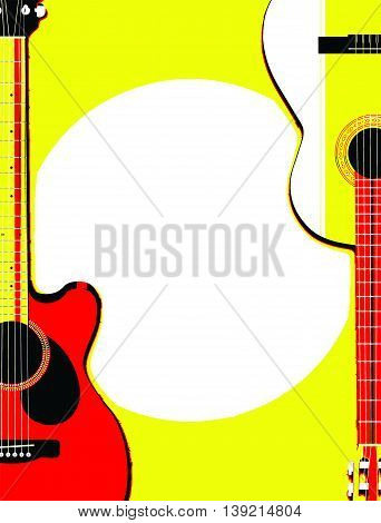 Retro poster art guitars background with white copy space vector illustration