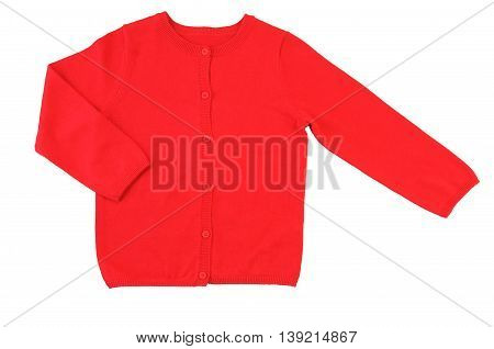 Trendy red cardigan. Isolated on a white background