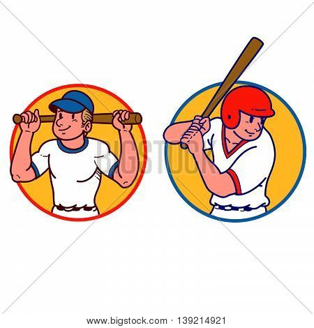 Vector illustration of a cartoon baseball batter